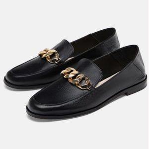 Zara Leather Loafer with Gold Chain Detail